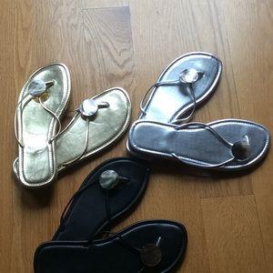 Shoes - Flip flops-3pair-silver, gold & black.  Never worn